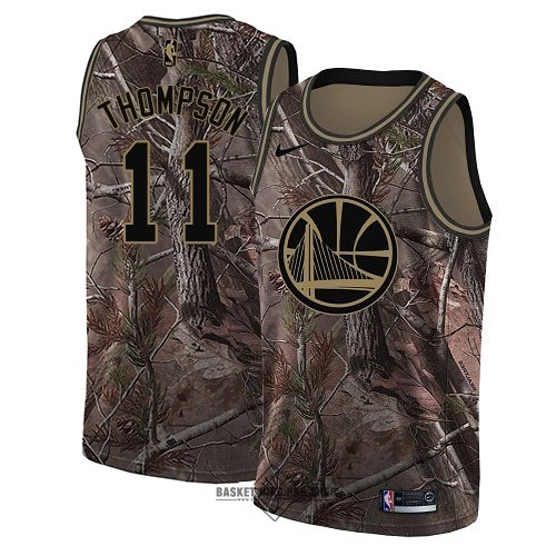 Maillot NBA Pas Cher - Maillot NBA Golden State Warriors NO.11 Klay Thompson Camo Swingman Collection Realtree 2018