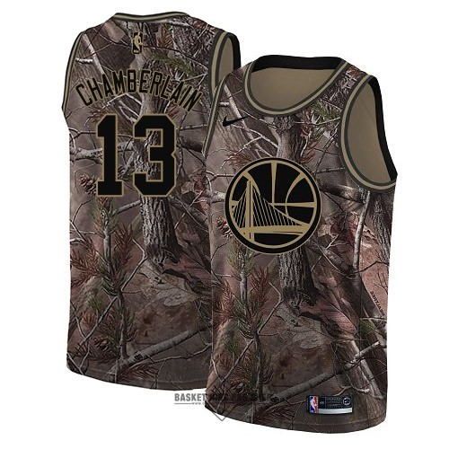Maillot NBA Pas Cher - Maillot NBA Golden State Warriors NO.13 Wilt Chamberlain Camo Swingman Collection Realtree 2018