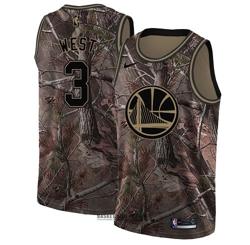Maillot NBA Pas Cher - Maillot NBA Golden State Warriors NO.3 David West Camo Swingman Collection Realtree 2018