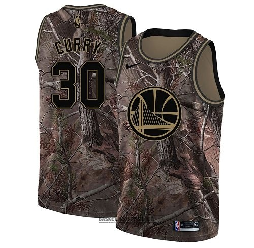 Maillot NBA Pas Cher - Maillot NBA Golden State Warriors NO.30 Stephen Curry Camo Swingman Collection Realtree 2018