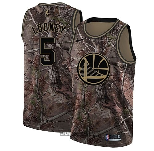 Maillot NBA Pas Cher - Maillot NBA Golden State Warriors NO.5 Kevon Looney Camo Swingman Collection Realtree 2018