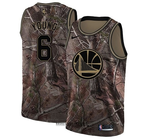 Maillot NBA Pas Cher - Maillot NBA Golden State Warriors NO.6 Nick Young Camo Swingman Collection Realtree 2018