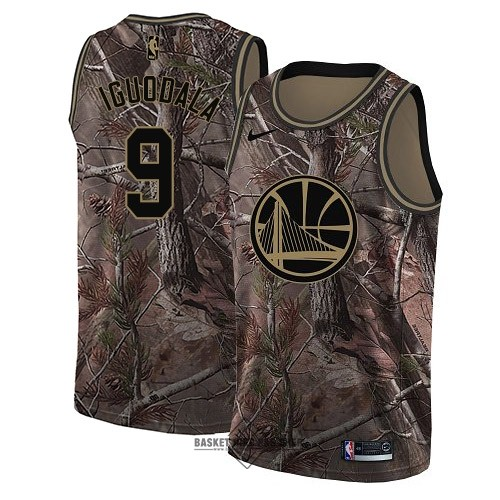 Maillot NBA Pas Cher - Maillot NBA Golden State Warriors NO.9 Andre Iguodala Camo Swingman Collection Realtree 2018