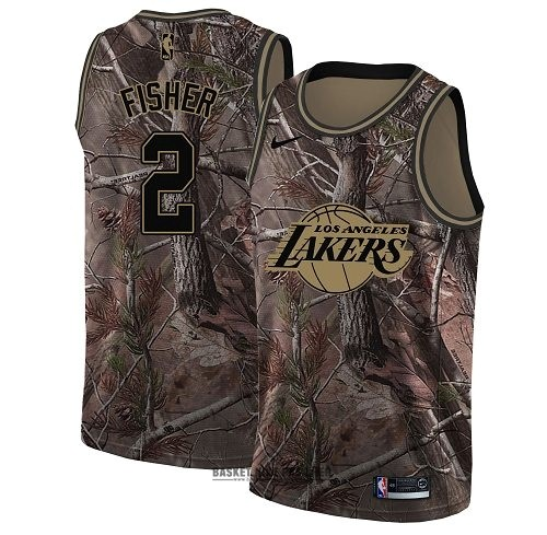 Maillot NBA Pas Cher - Maillot NBA Los Angeles Lakers NO.2 Derek Fisher Camo Swingman Collection Realtree 2018