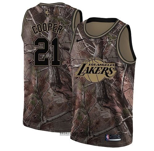Maillot NBA Pas Cher - Maillot NBA Los Angeles Lakers NO.21 Michael Cooper Camo Swingman Collection Realtree 2018