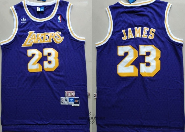 Maillot NBA Pas Cher - Maillot NBA Los Angeles Lakers NO.23 Lebron James Retro Pourpre