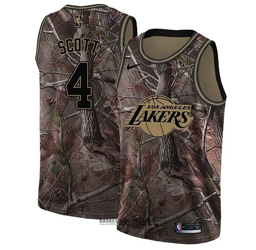 Maillot NBA Pas Cher - Maillot NBA Los Angeles Lakers NO.4 Byron Scott Camo Swingman Collection Realtree 2018