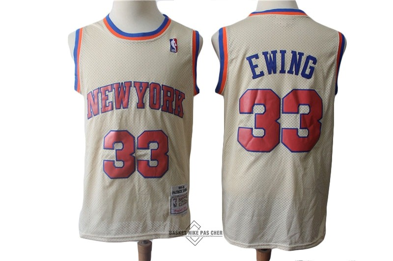Maillot NBA Pas Cher - Maillot NBA New York Knicks NO.33 Patrick Ewing Retro Crème 1991-92