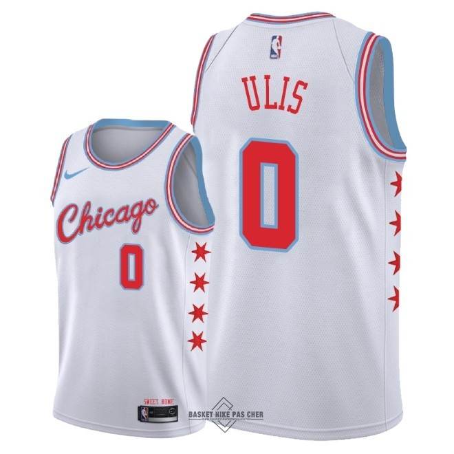 Maillot NBA Pas Cher - Maillot NBA Nike Chicago Bulls NO.0 Tyler Ulis Nike Blanc Ville 2018