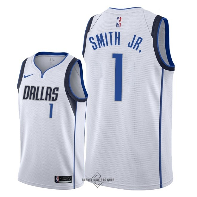 Maillot NBA Pas Cher - Maillot NBA Nike Dallas Mavericks NO.1 Dennis Smith Jr Blanc Association 2018