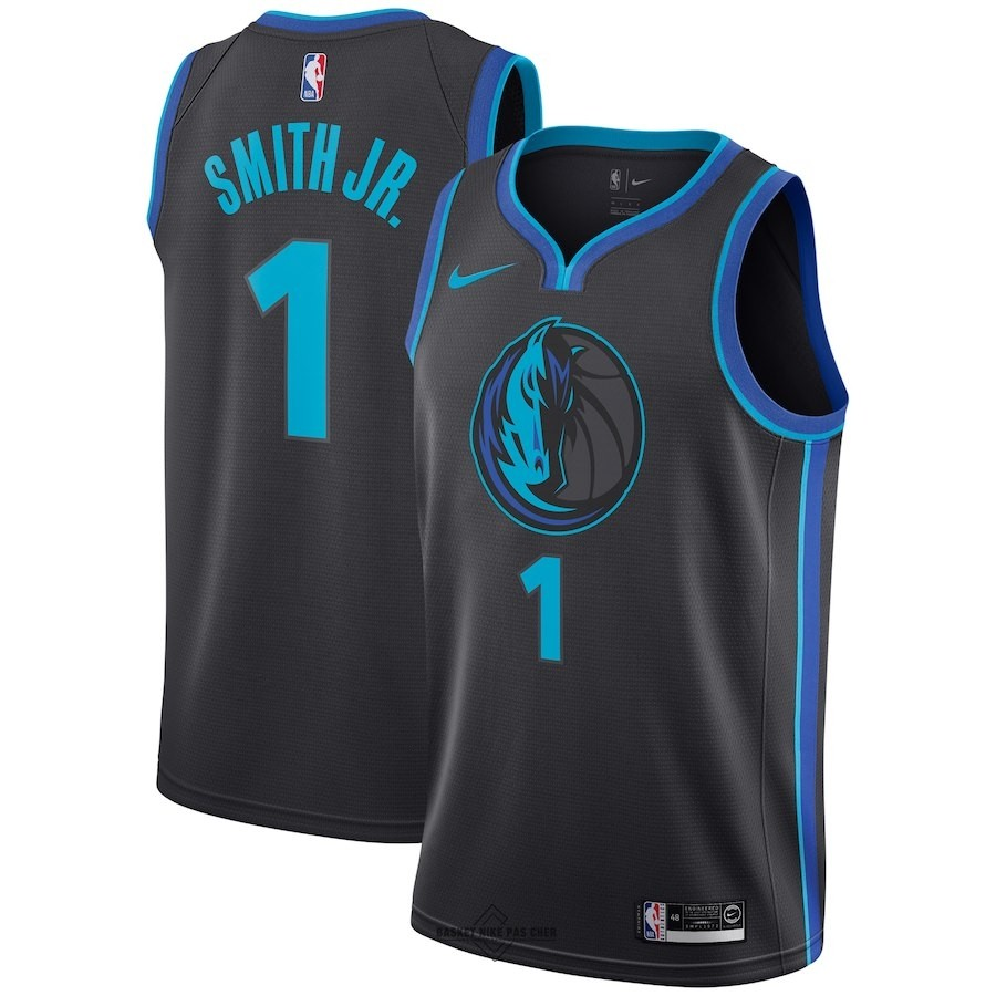Maillot NBA Pas Cher - Maillot NBA Nike Dallas Mavericks NO.1 Dennis Smith Jr Nike Anthracite Ville 2018-19
