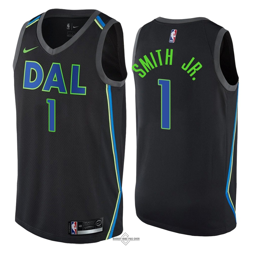 Maillot NBA Pas Cher - Maillot NBA Nike Dallas Mavericks NO.1 Dennis Smith Jr Nike Noir Ville 2018