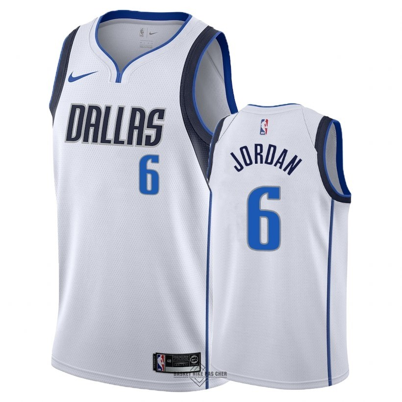 Maillot NBA Pas Cher - Maillot NBA Nike Dallas Mavericks NO.6 DeAndre Jordan Blanc Association 2018