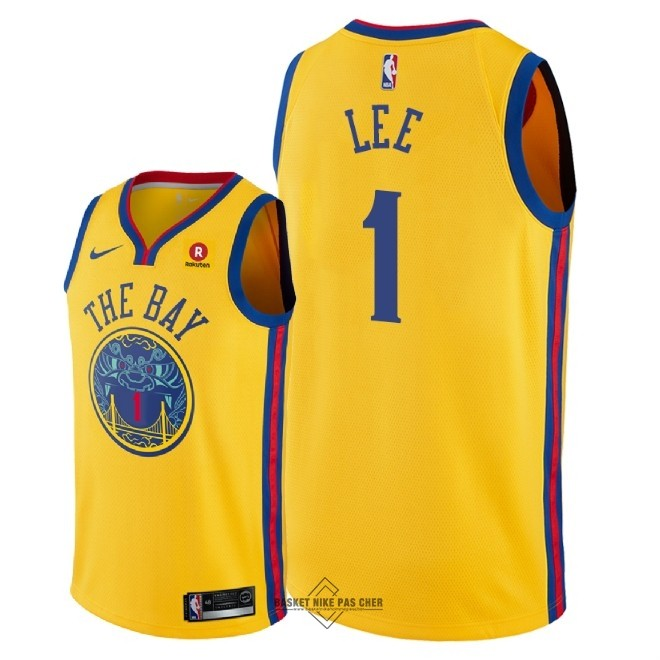 Maillot NBA Pas Cher - Maillot NBA Nike Golden State Warriors NO.1 Damion Lee Jaune Ville 2018