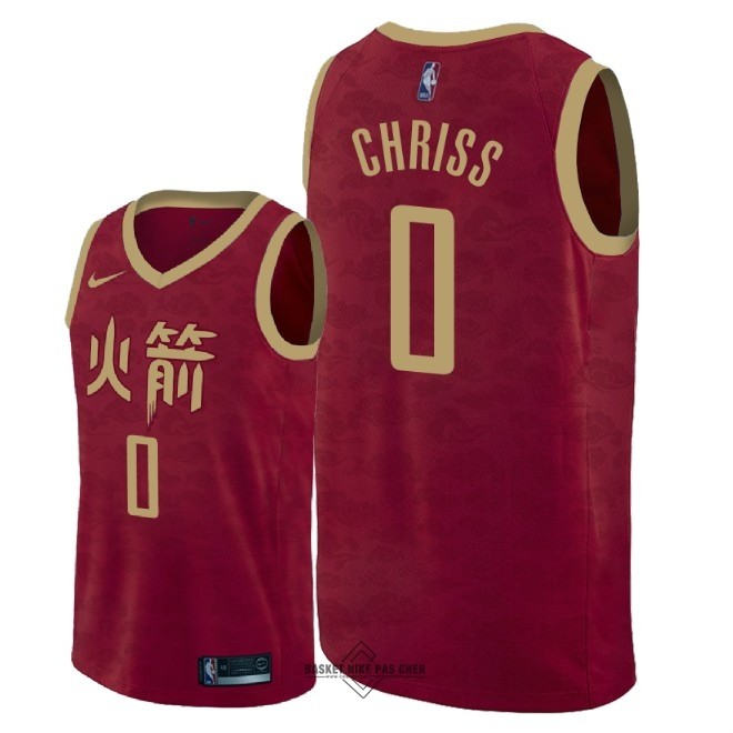 Maillot NBA Pas Cher - Maillot NBA Nike Houston Rockets NO.0 Marquese Chriss Nike Rouge Ville 2018-19