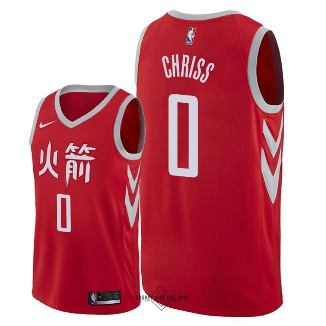 Maillot NBA Pas Cher - Maillot NBA Nike Houston Rockets NO.0 Marquese Chriss Nike Rouge Ville 2018