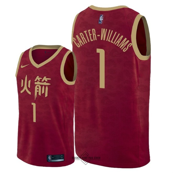 Maillot NBA Pas Cher - Maillot NBA Nike Houston Rockets NO.1 Michael Carter Williams Nike Rouge Ville 2018-19