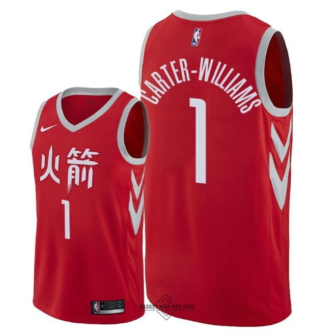 Maillot NBA Pas Cher - Maillot NBA Nike Houston Rockets NO.1 Michael Carter Williams Nike Rouge Ville 2018