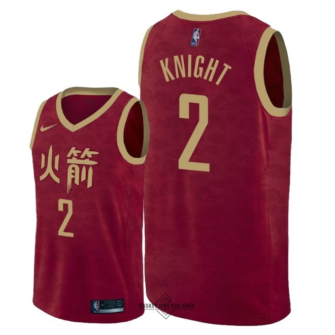 Maillot NBA Pas Cher - Maillot NBA Nike Houston Rockets NO.2 Brandon Knight Nike Rouge Ville 2018-19