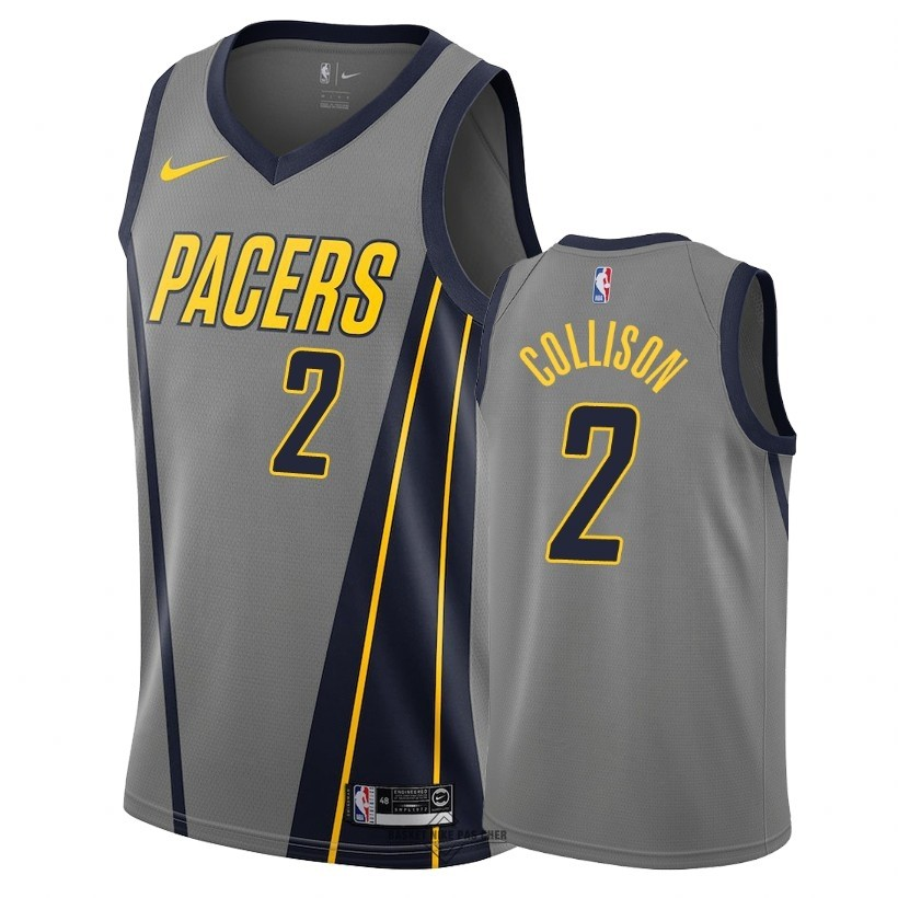Maillot NBA Pas Cher - Maillot NBA Nike Indiana Pacers NO.2 Darren Collison Nike Gris Ville 2018-19