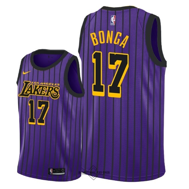 Maillot NBA Pas Cher - Maillot NBA Nike Los Angeles Lakers NO.17 Isaac Bonga Nike Pourpre Ville 2018-19