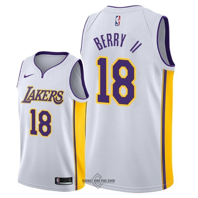 Maillot NBA Pas Cher - Maillot NBA Nike Los Angeles Lakers NO.18 Joel Berry II Blanc Association 2018
