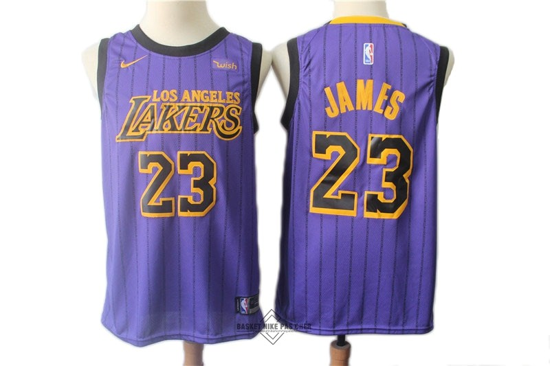 Maillot NBA Pas Cher - Maillot NBA Nike Los Angeles Lakers NO.23 Lebron James Pourpre Ville 2018-19