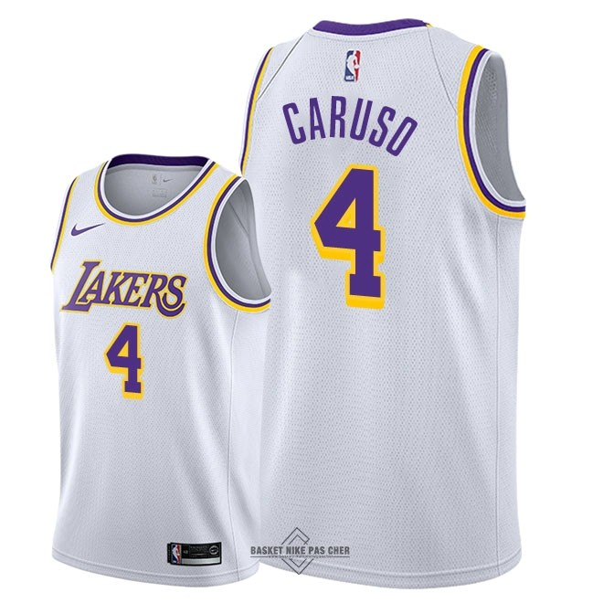 Maillot NBA Pas Cher - Maillot NBA Nike Los Angeles Lakers NO.4 Alex Caruso Blanc Association 2018-19