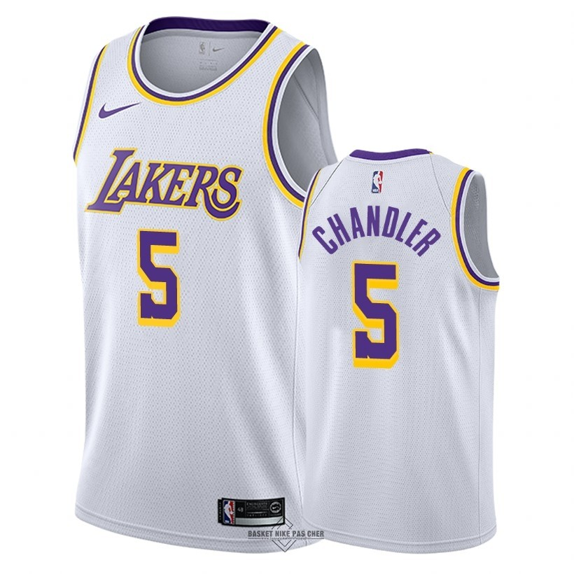 Maillot NBA Pas Cher - Maillot NBA Nike Los Angeles Lakers NO.5 Tyson Chandler Blanc Association 2018-19