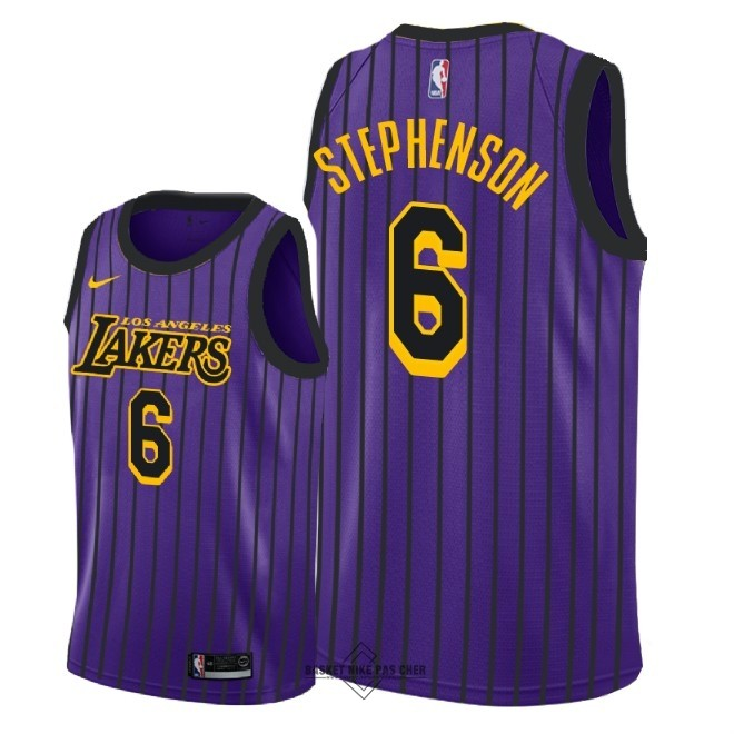 Maillot NBA Pas Cher - Maillot NBA Nike Los Angeles Lakers NO.6 Lance Stephenson Nike Pourpre Ville 2018-19