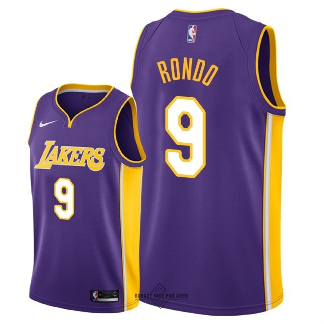 Maillot NBA Pas Cher - Maillot NBA Nike Los Angeles Lakers NO.9 Rajon Rondo Pourpre Statement 2018