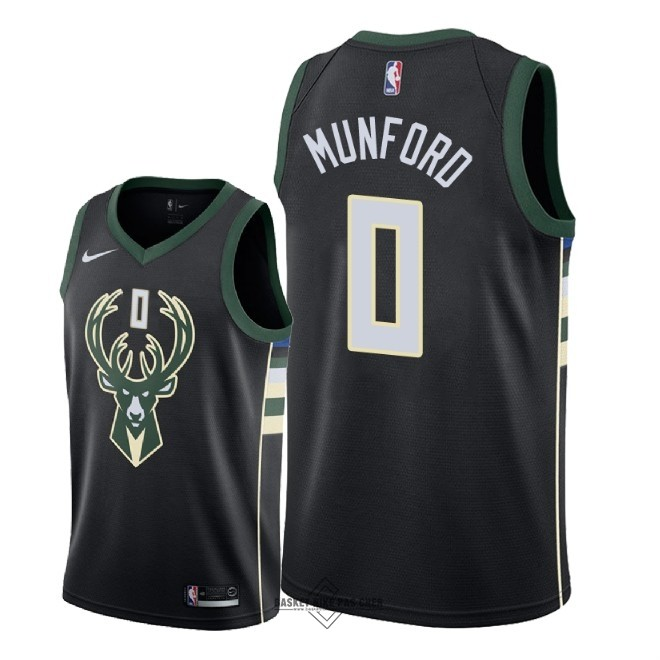 Maillot NBA Pas Cher - Maillot NBA Nike Milwaukee Bucks NO.0 Xavier Munford Noir Statement 2018