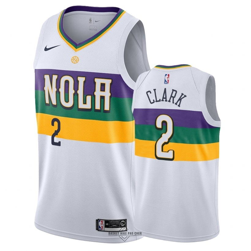 Maillot NBA Pas Cher - Maillot NBA Nike New Orleans Pelicans NO.2 Ian Clark Nike Blanc Ville 2018-19