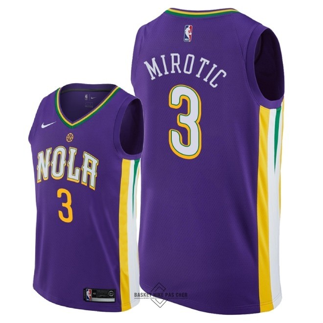 Maillot NBA Pas Cher - Maillot NBA Nike New Orleans Pelicans NO.3 Nikola Mirotic Nike Pourpre Ville 2018