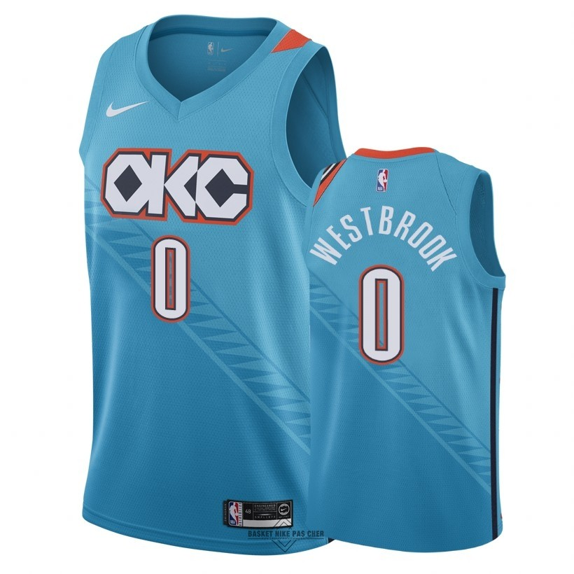 Maillot NBA Pas Cher - Maillot NBA Nike Oklahoma City Thunder NO.0 Russell Westbrook Nike Turquoise Ville 2018-19