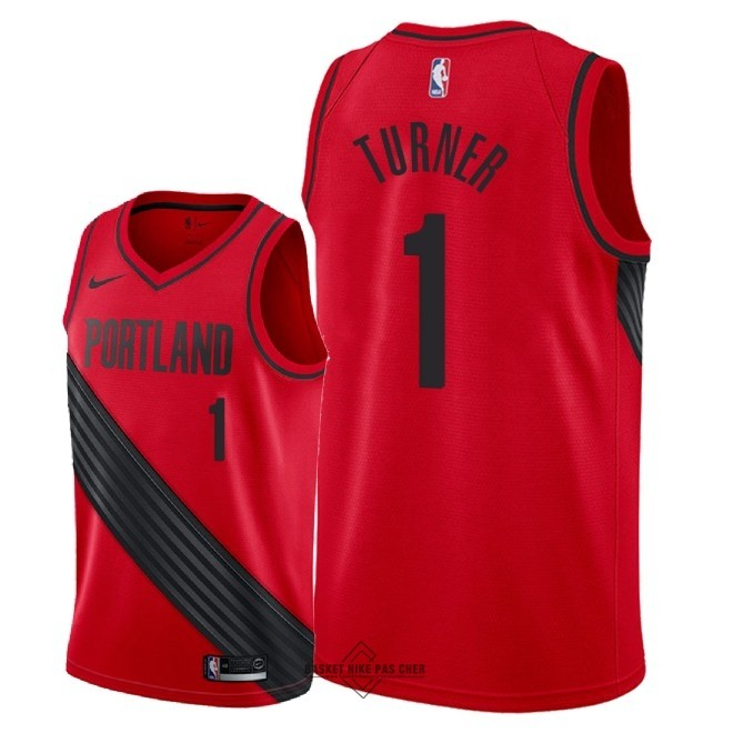 Maillot NBA Pas Cher - Maillot NBA Nike Portland Trail Blazers NO.1 Evan Turner Rouge Statement 2018