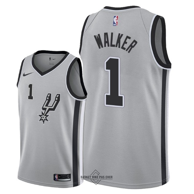 Maillot NBA Pas Cher - Maillot NBA Nike San Antonio Spurs NO.1 Lonnie Walker Gris Statement 2018