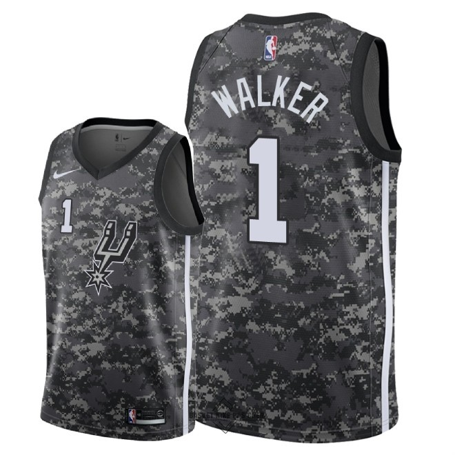 Maillot NBA Pas Cher - Maillot NBA Nike San Antonio Spurs NO.1 Lonnie Walker Nike Camouflage Ville 2018