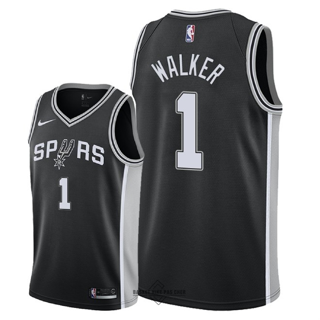 Maillot NBA Pas Cher - Maillot NBA Nike San Antonio Spurs NO.1 Lonnie Walker Noir Icon 2018
