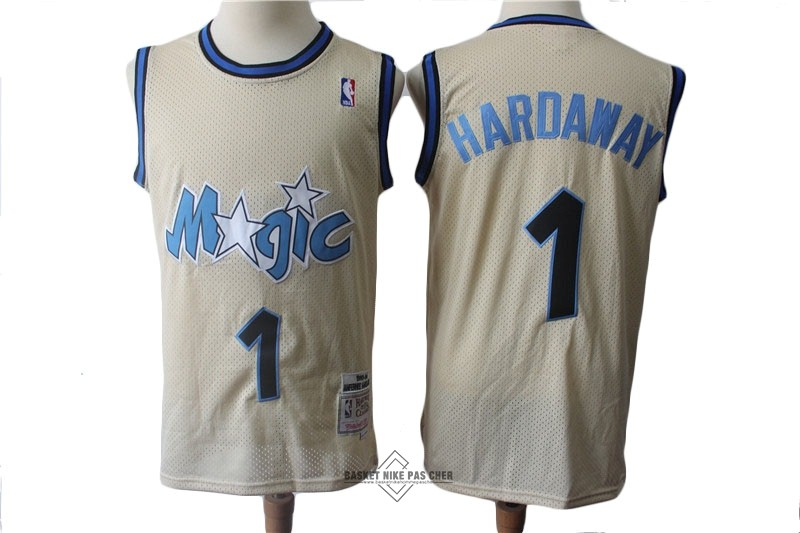 Maillot NBA Pas Cher - Maillot NBA Orlando Magic NO.1 Anfernee Hardaway Retro Crème 1993-94