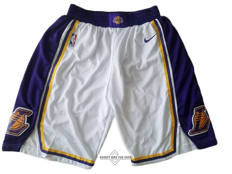 Maillot NBA Pas Cher - Short Basket Los Angeles Lakers Nike Blanc 2018-19