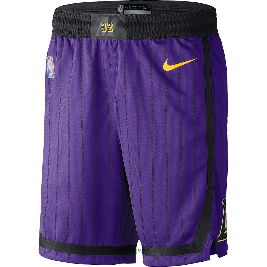 Maillot NBA Pas Cher - Short Basket Los Angeles Lakers Nike Pourpre Ville 2018-19