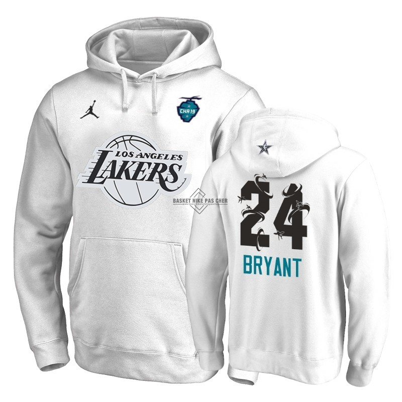 Maillot NBA Pas Cher - Hoodies NBA 2019 All Star Los Angeles Lakers NO.24 Kobe Bryant Blanc