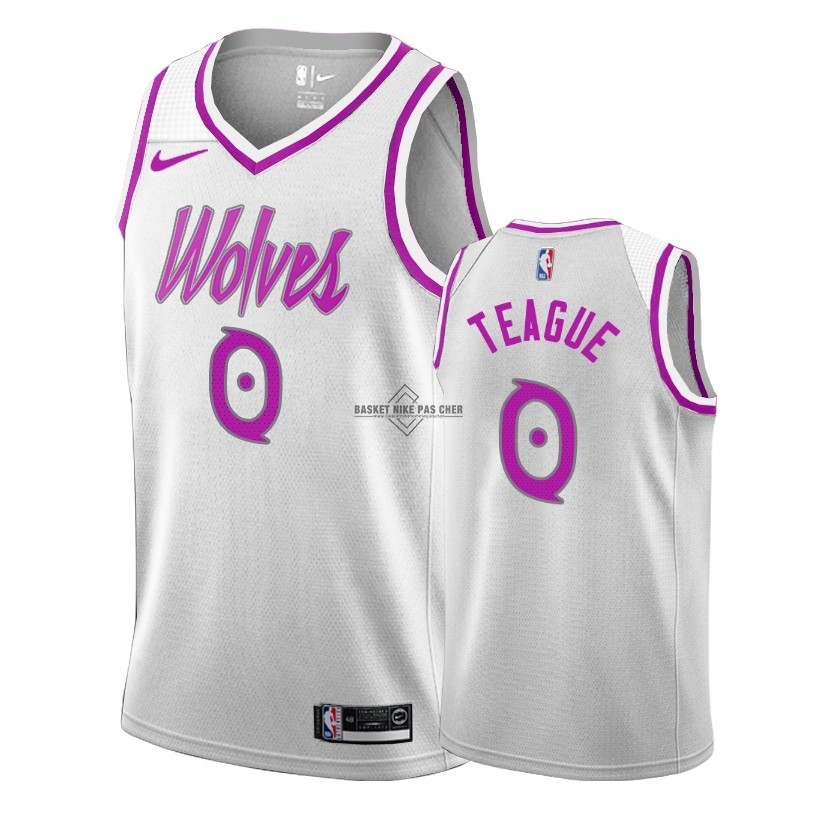 Maillot NBA Pas Cher - Maillot Earned Edition Minnesota Timberwolves NO.0 Jeff Teague Blanc 2018-19