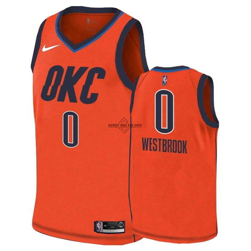 Maillot NBA Pas Cher - Maillot Earned Edition Oklahoma City Thunder NO.0 Russell Westbrook Orange 2018-19