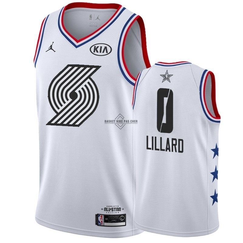 Maillot NBA Pas Cher - Maillot NBA 2019 All Star NO.0 Damian Lillard Blanc