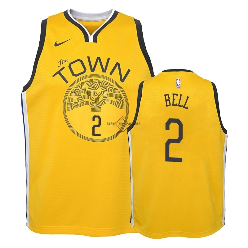 Maillot NBA Pas Cher - Maillot NBA Enfant Earned Edition Golden State Warriors NO.2 Jordan Bell Jaune 2018-19