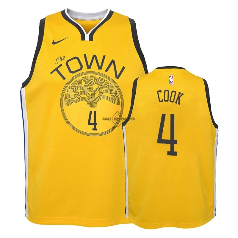 Maillot NBA Pas Cher - Maillot NBA Enfant Earned Edition Golden State Warriors NO.4 Quinn Cook Jaune 2018-19