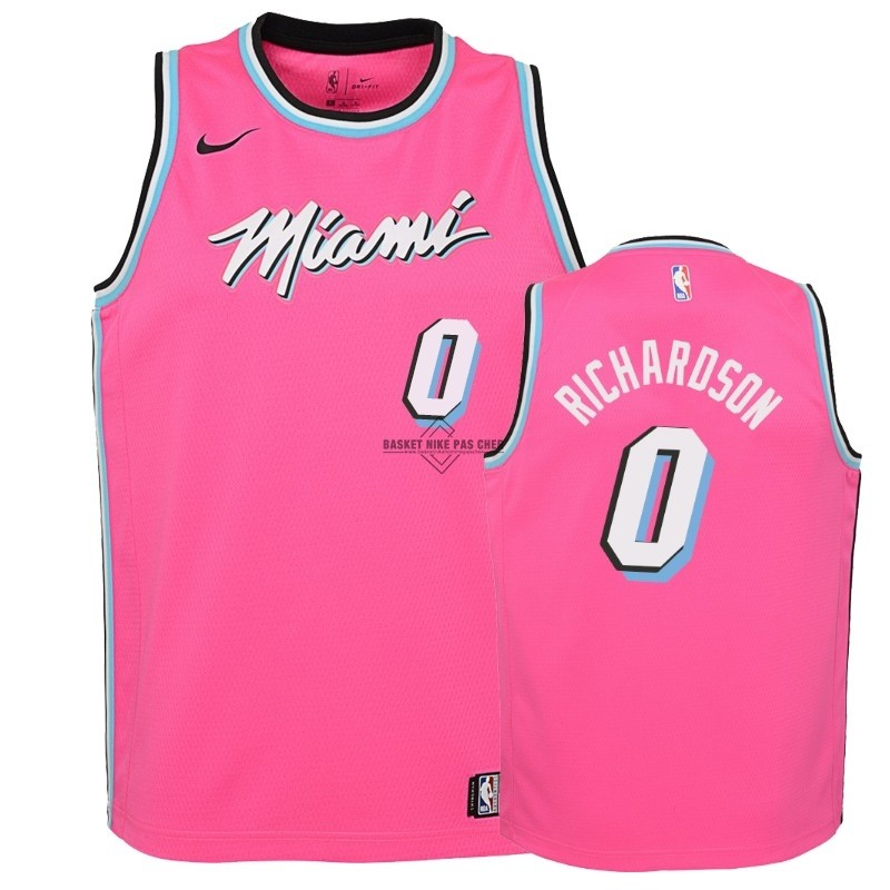 Maillot NBA Pas Cher - Maillot NBA Enfant Earned Edition Miami Heat NO.0 Josh Richardson Rose 2018-19