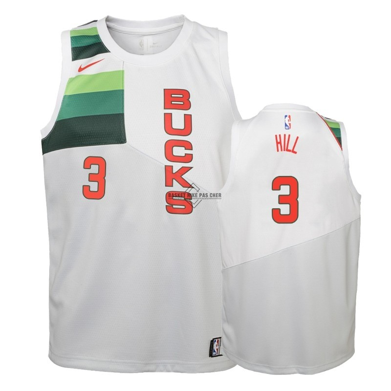 Maillot NBA Pas Cher - Maillot NBA Enfant Earned Edition Milwaukee Bucks NO.3 George Hill Blanc 2018-19